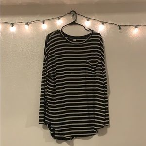 black and white striped long sleeved shirt